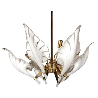 1960's Murano Glass and Brass Six Light Chandelier