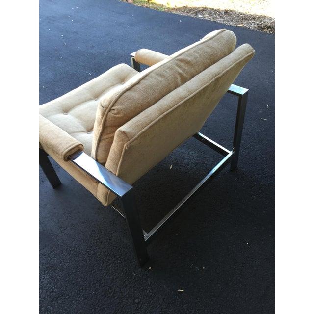 Milo Baughman Style Chrome Flat Bar Chair - Image 6 of 10