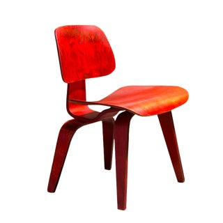 1951 Eames DCW Red Aniline Dyed Chair