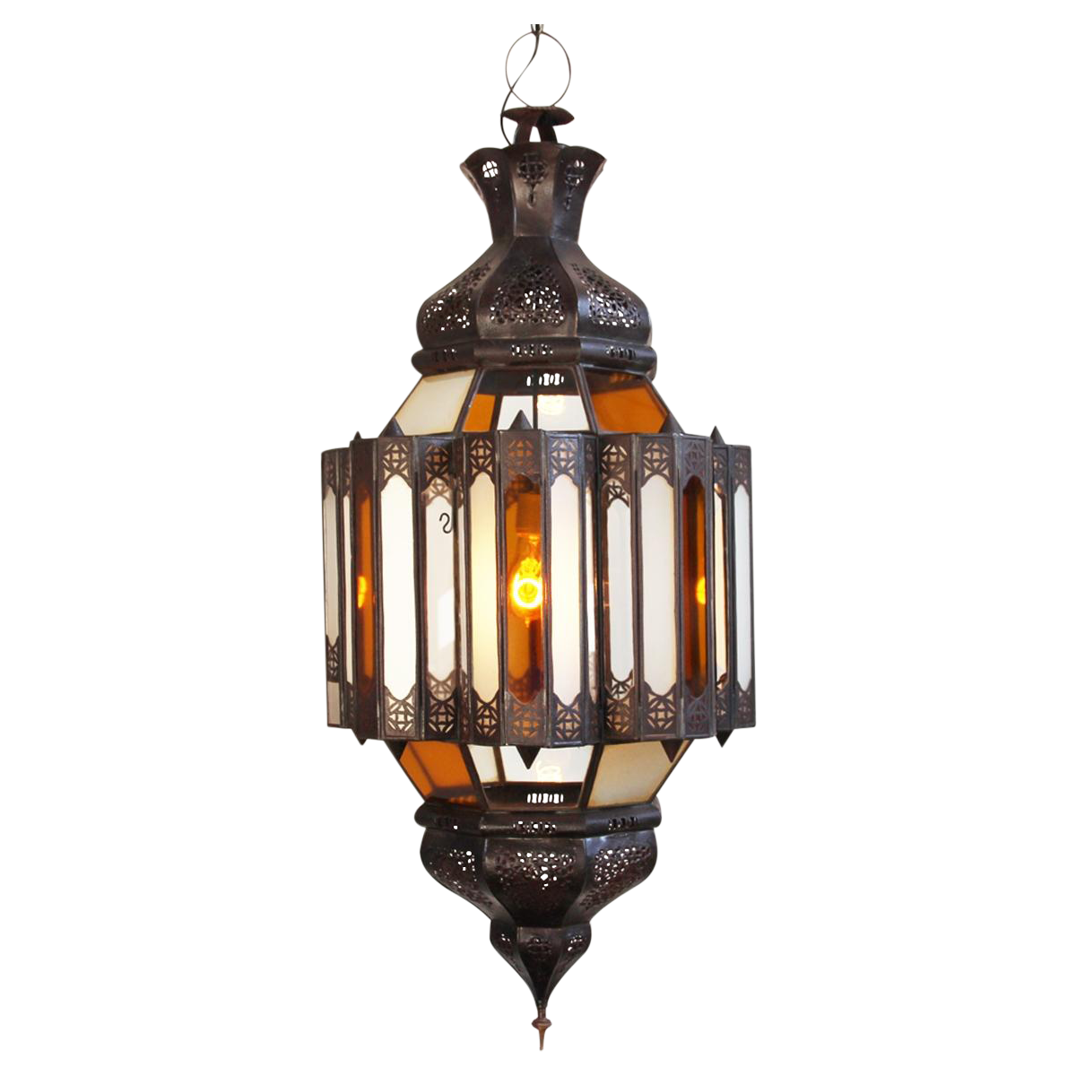 Image of Moroccan Glass & Metal Work Lantern