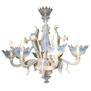 Murano Chandelier in Milk Glass, ca 1930