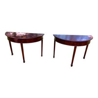 Mahogany Demilune Console Tables - A Pair