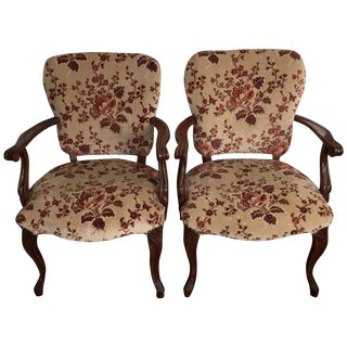 Floral French Provincial Chairs- A  Pair