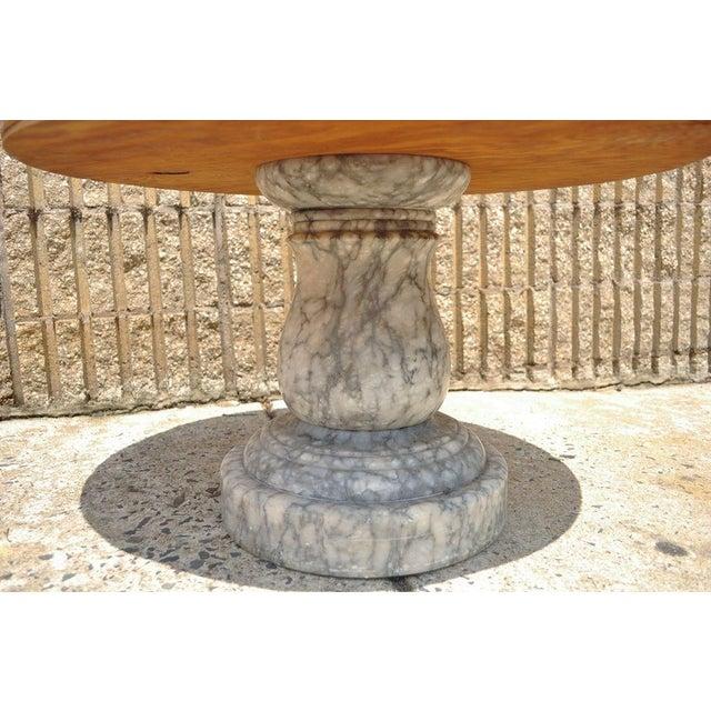 Vintage Decorator Hollywood Regency Italian Grey Marble Round Coffee Table - Image 7 of 8
