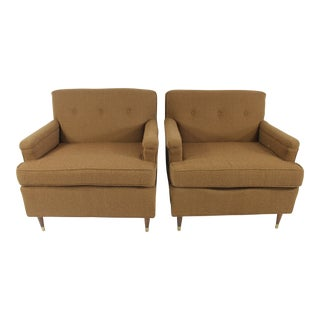 Mid-Century Modern Tan Upholstered Tuxedo Chairs, Circa 1950's- A Pair