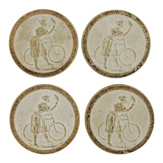Antique Clay Poker Chips Woman on Bicycle - Set of 4