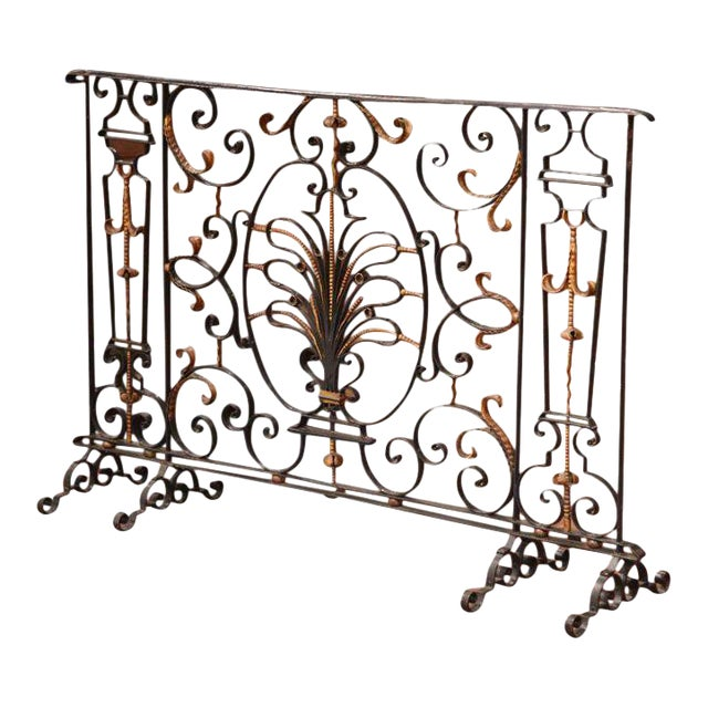 black iron fireplace screen. 18th Century French Black Wrought Iron Fireplace Screen  Image 1 of 6 Superior