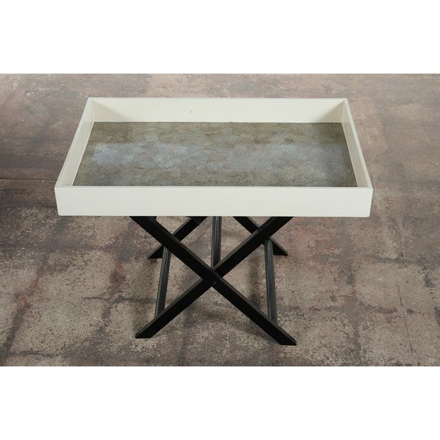 Mid Century Modern Shagreen Folding Tray Table - Image 3 of 10