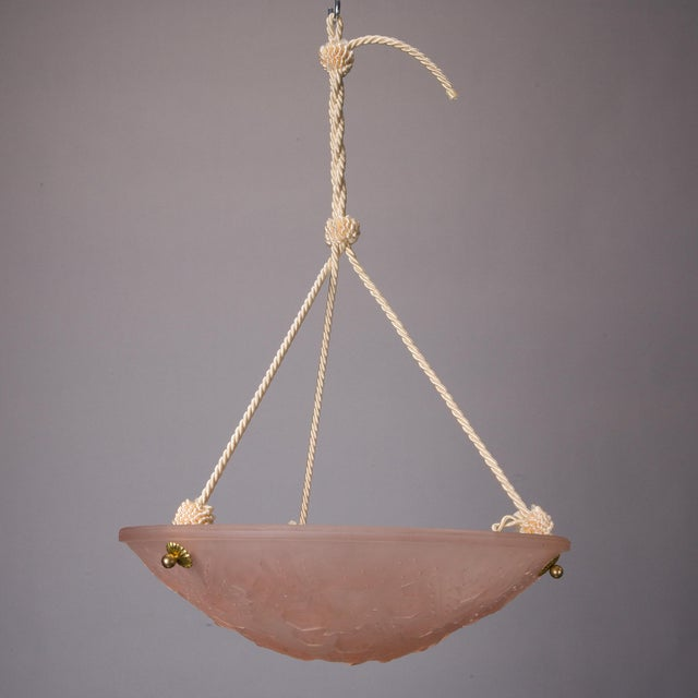 French Art Deco Molded Glass Light Fixture - Image 2 of 5