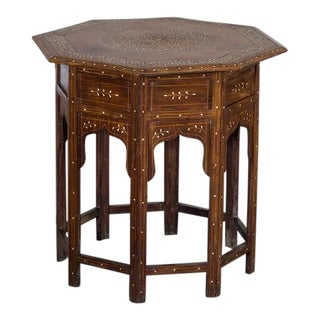 Antique Hoshiapur Inlaid Octagonal Indian Table circa 1890