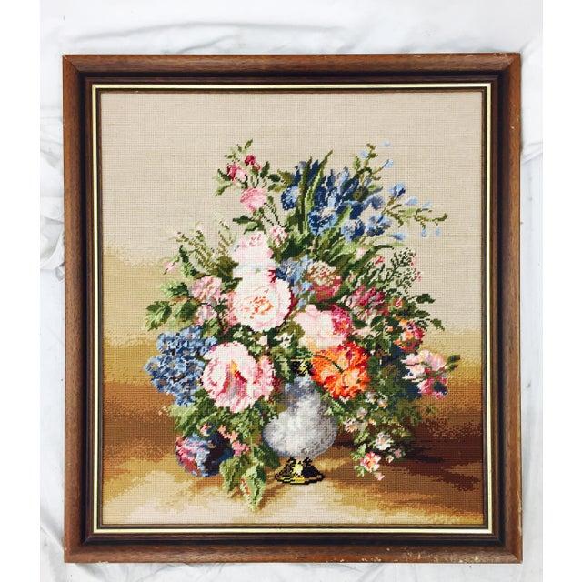 Large Wooden Framed Floral Needlepoint - Image 2 of 5