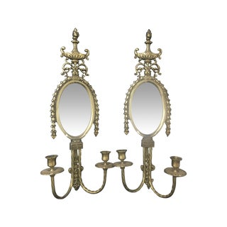 Brass Wall Sconces With Mirrors - Two