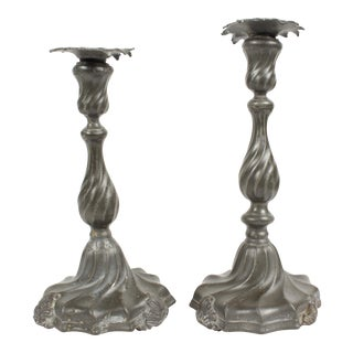 Antique Pewter Candle Holders - A Pair