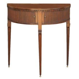 English Mahogany Demilune Table with Tambour Doors