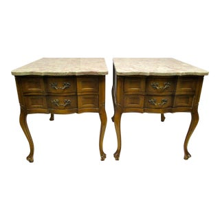 Vintage Marble Top End Tables - A Pair