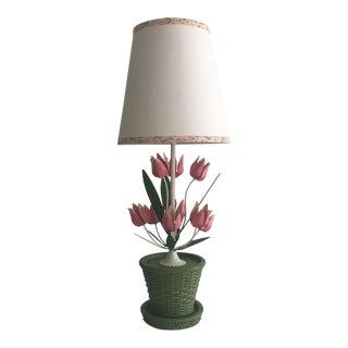 Italian Green Metal Tole Lamp
