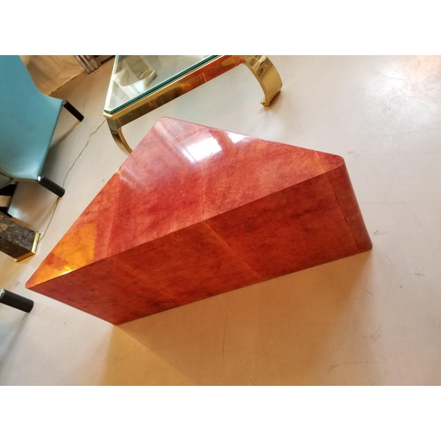 1980's Triangular Died Parchment Coffee Table in the Manner of Aldo Tura - Image 4 of 4