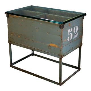 Vintage Industrial Wood Stenciled Side Table