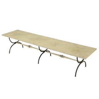 Tomlinson Driftwood Glazed Coffee Table with Triple-Curule Forged Iron Base
