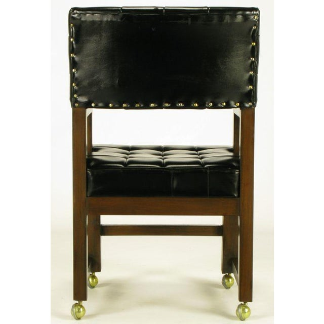 Black Button Tufted Mahogany Frame Desk Chair - Image 6 of 8