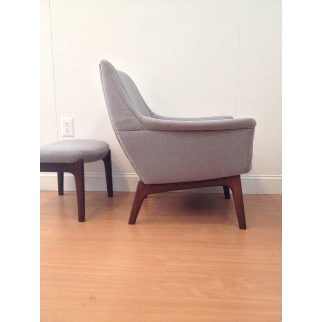 Danish Modern Upholstered Lounge Chair & Ottoman - Image 6 of 11