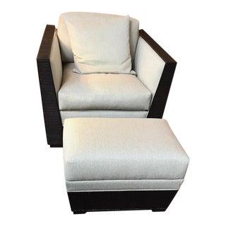 Palecek Lounge Chair & Ottoman - A Pair