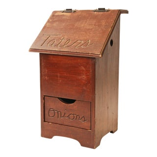 Vintage Rustic Wood Taters & Onions Bin