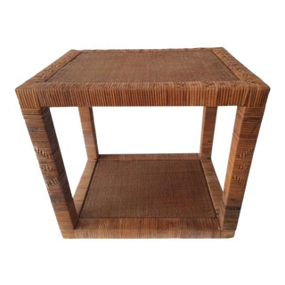 Vintage Bielecky Brothers Rattan Side Table