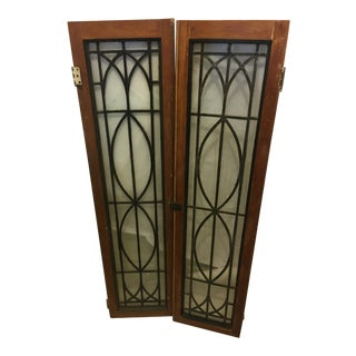 Old Leaded Windows/ Doors Pine Frame - a Pair