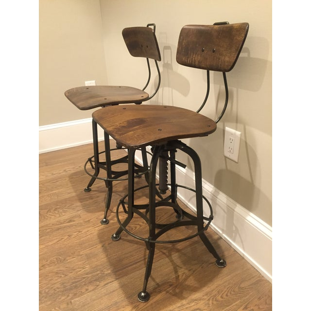 Toledo Adjustable High Back Bar Stools A Pair Chairish