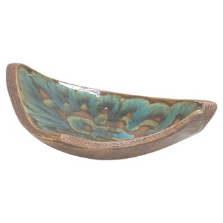 California Pottery Ceramic Faux Bois Asymmetrical Console Bowl