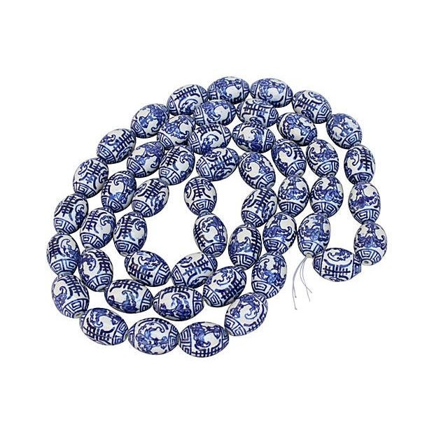 Image of Hand-Painted Blue & White Chinese Porcelain Beads