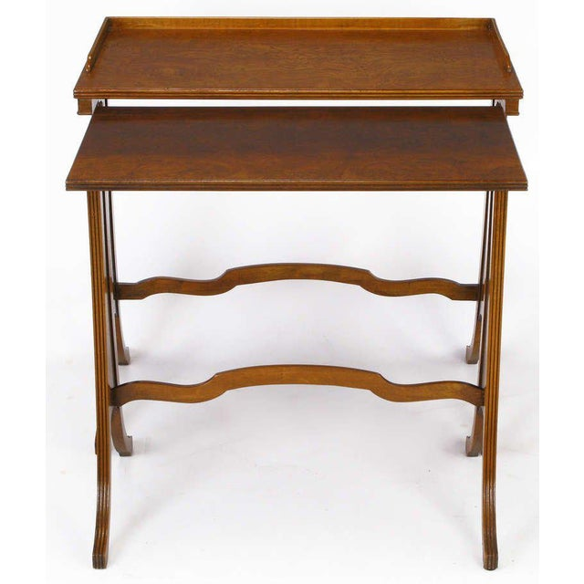 Baker Art Nouveau Style Burled Walnut Nesting Tables - Image 9 of 10