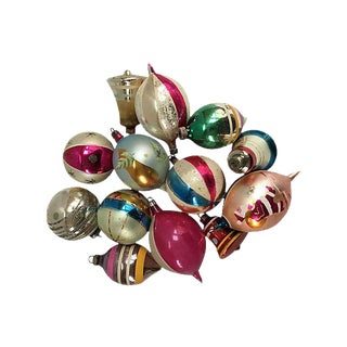 1960s Mixed Christmas Ornaments - Set of 12