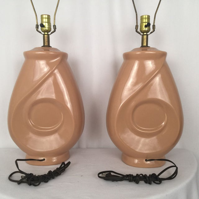 Image of 1960s Mid-Century Peach Lamps - A Pair