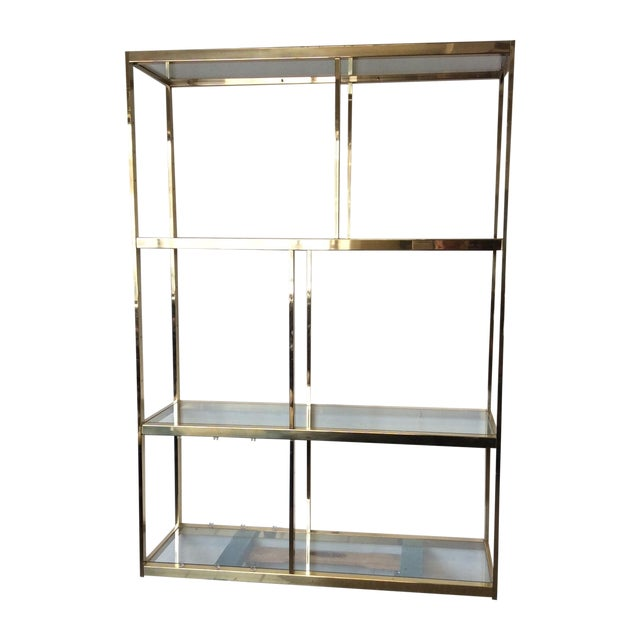 Brass Etagere With Glass Shelves - Image 1 of 7