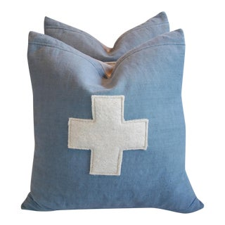 Custom Tailored Powder Blue Appliqué Cross Pillows - A Pair