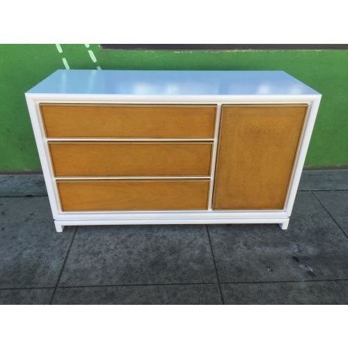 Mid-Century White & Walnut Credenza - Image 2 of 3