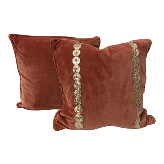 Contemporary Burnt Orange Velvet Pillows - A Pair