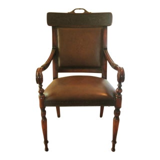 Colonial Revival Leather Embossed Accent Chair