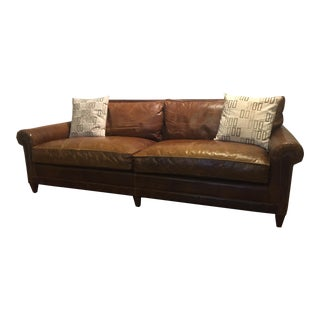 Ralph Lauren Leather Sofa With Throw Pillows