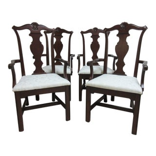 Pennsylvania House Cherry Shell Carved Dining Room Arm Chairs - Set of 4