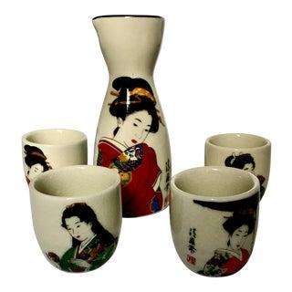 Vintage Japanese Geisha Sake Set