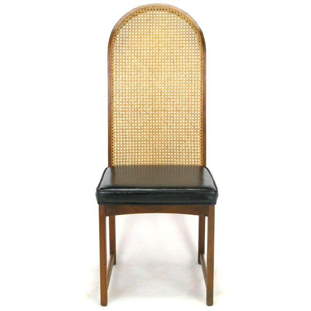 Four Milo Baughman Walnut & Cane Arch-Back Dining Chairs - Image 4 of 9
