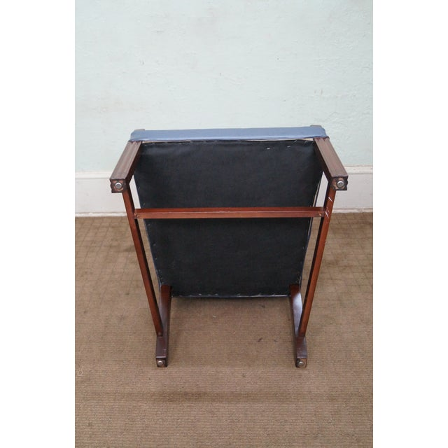 Image of Blue Leather Chippendale Style Arm Chairs - 2