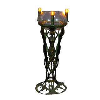 Art Deco Egyptian Revival Mermaid Lighted Fish Bowl Stand