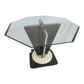 Glass Top Table with Granite & Marble Base