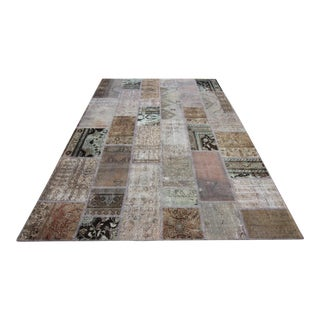 Vintage Turkish Overdyed Patchwork Oushak Distressed Rug - 6′7″ × 9′11″