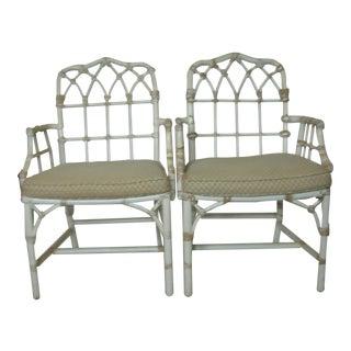 Vintage McGuire Rattan Arm Chairs - Pair