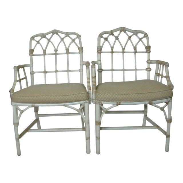 Image of Vintage McGuire Rattan Arm Chairs - Pair